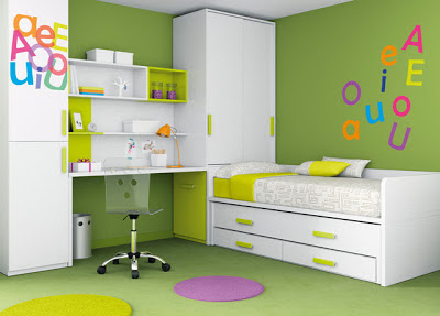 decoracin interior de dormitorio juvenil naturaleza color verde en decoracin de habitacin