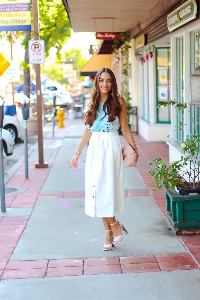 bardot top, white midi skirt, carlo pazolini pumps, pink nudes