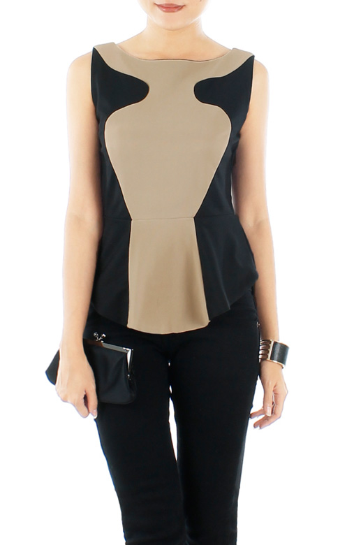 Tan LUXE Illusion Peplum Top