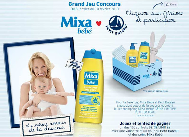 100 coffrets SÉRIE LIMITÉE  avec une valisette et un doudou Petit Bateau et des soins Mixa Bébé