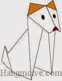 Bước 18: Vẽ mắt, mũi để hoàn thành cách xếp chú chó Dingo bằng giấy theo phong cách origami nghệ thuật.