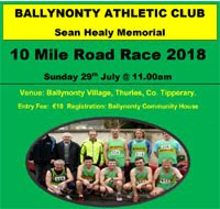 10 mile race in Tipperary...Sun 29th July 2018
