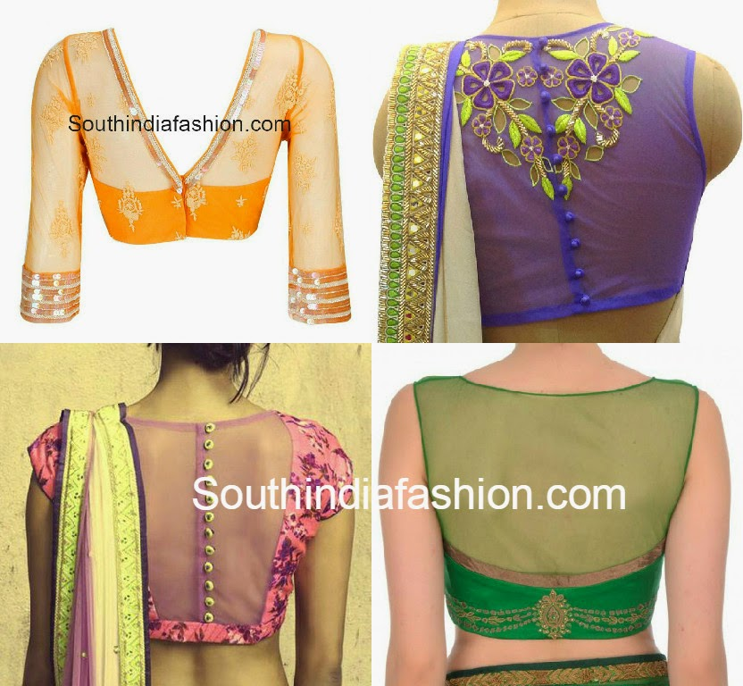 Net Blouse Back Neck Designs 109