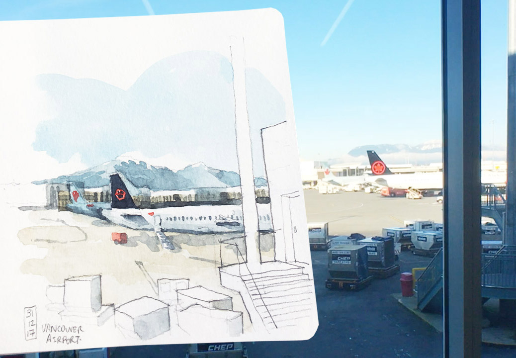 [T.K. Justin Ng from Vancouver] Airplane and airport sketches are one of  the most quintessential urban sketcher must-dos. Many different people have  taken ...