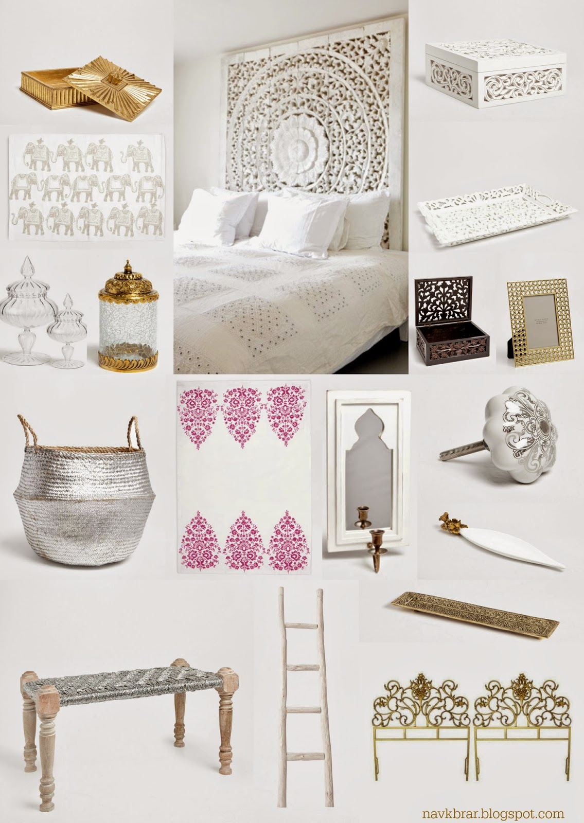 Zara home decor: White Bedroom, Indian inspired white and gold decor with wood carved trays