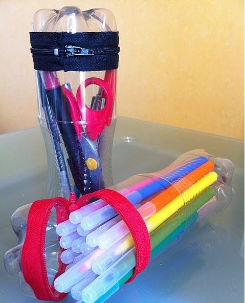 Cartucheras de materiales reciclables cartucheras de botellas - Objetos reciclados para el hogar ...