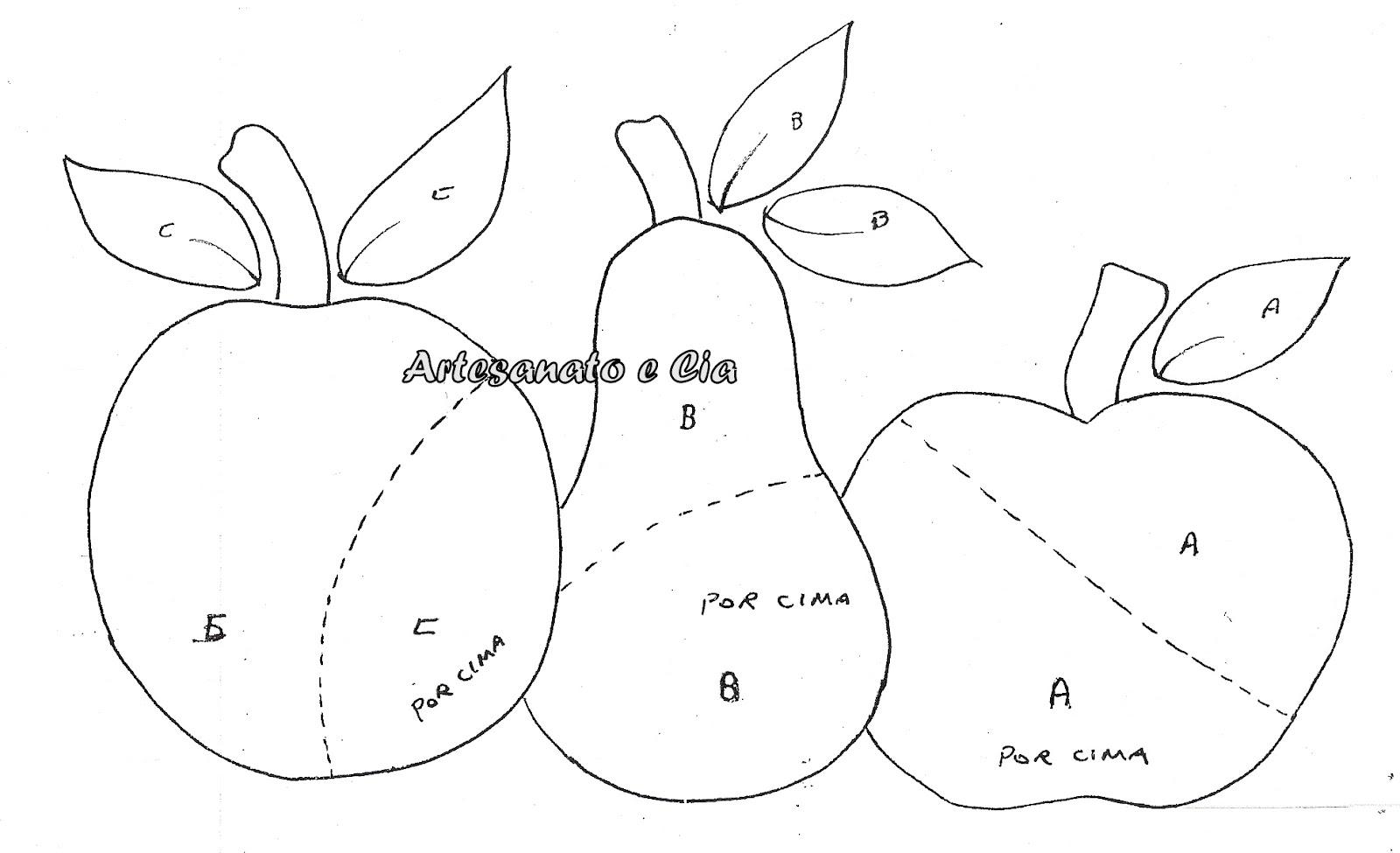 estão alguns riscos de frutas pra você colocar não só no pano de ...