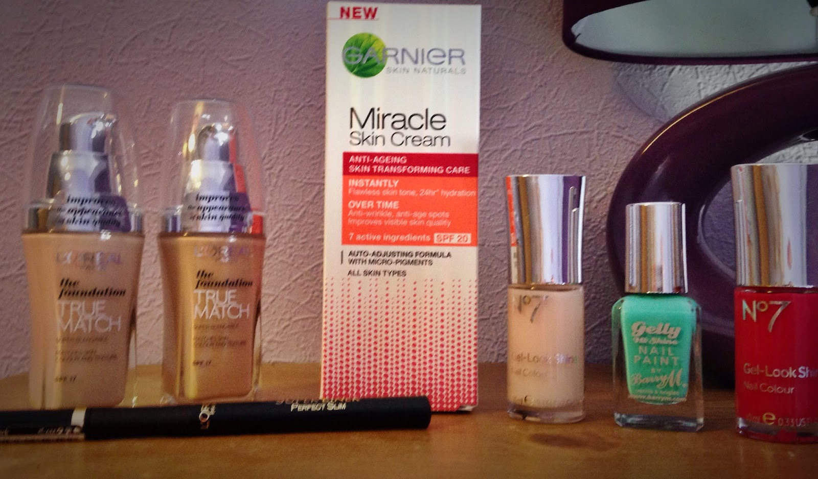 L'Oreal True Match foundation, Garnier Miracle cream, Barry M Gelly Nail Varnish, No7 Nail Varnish, Eyeliner