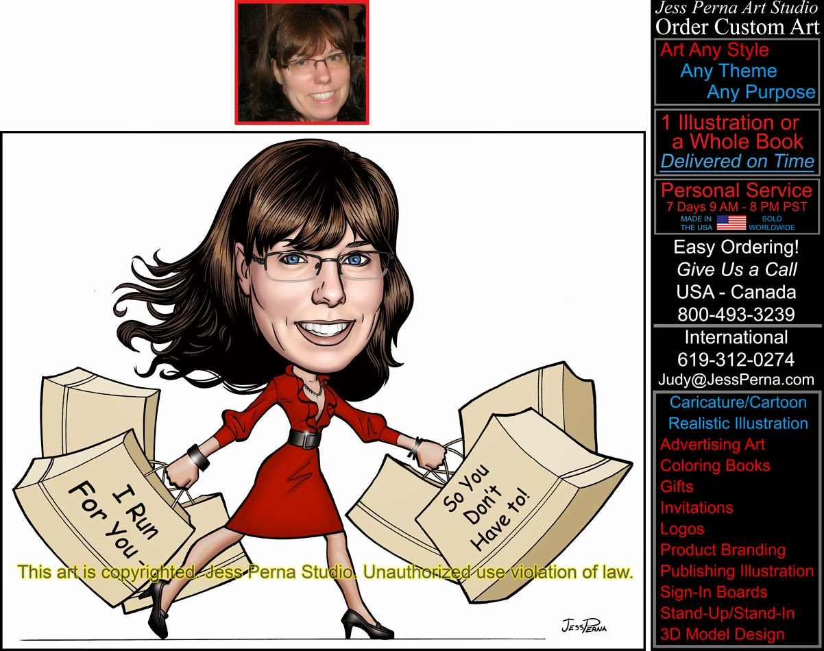 Order Personal Assistant Shopper Caricature Business Card Ads ...