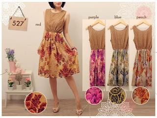 Brocade Floral Dress - Dress kombinasi Brukat dan Ceruti