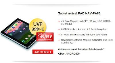8 Zoll-Tablet a-rival PAD NAV-PA83 für 149,95 Euro inklusive Versandkosten