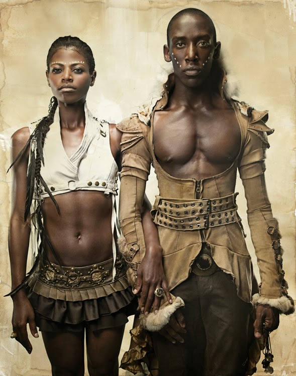 superbe couple d'origine africaine en tenue steampunk