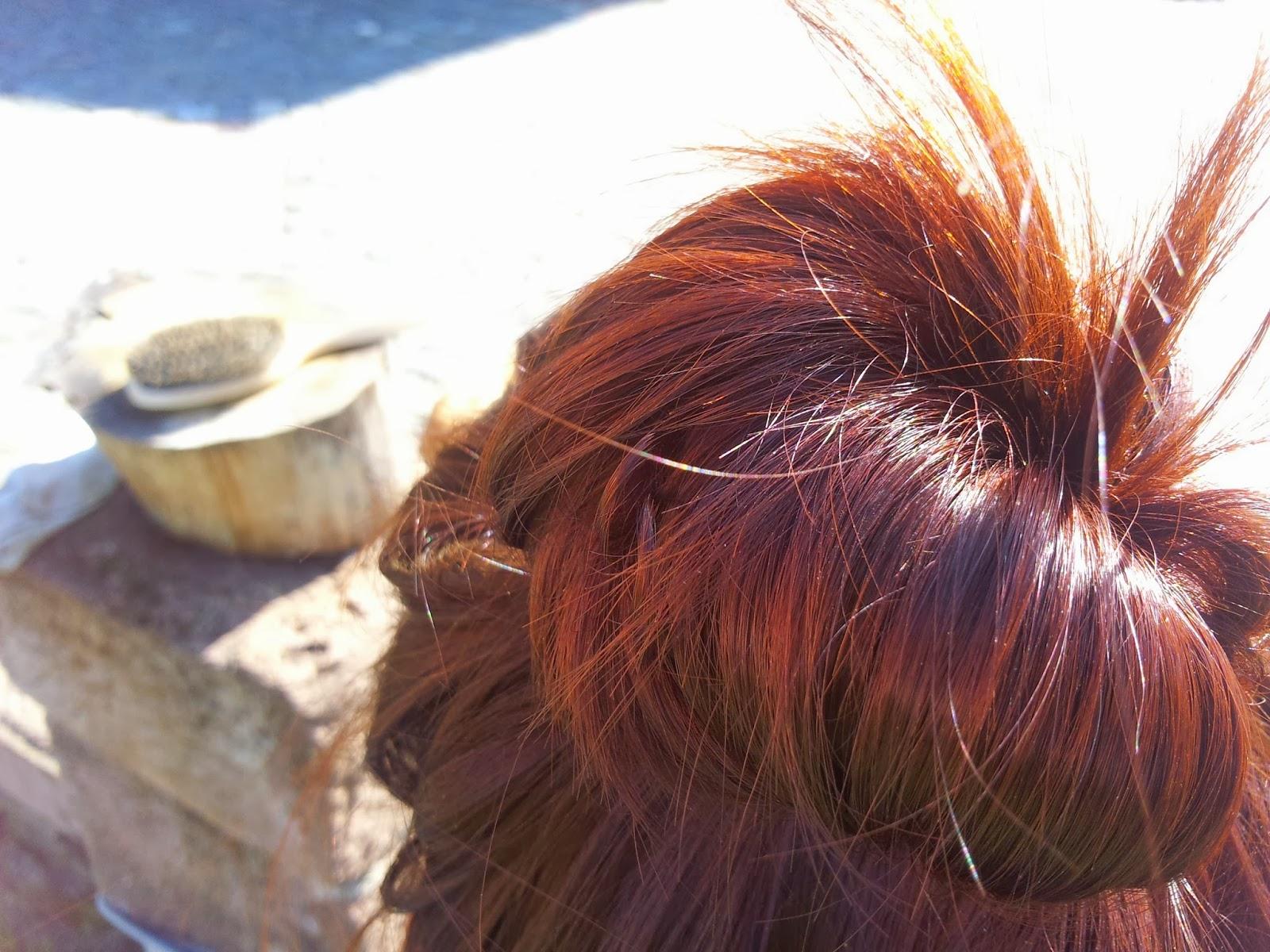 les reflets sur un messimon jai baptis ce chignon ainsi car cest un cinammon mais avec les cheveux en fouillis - Coloration Khadi Rouge