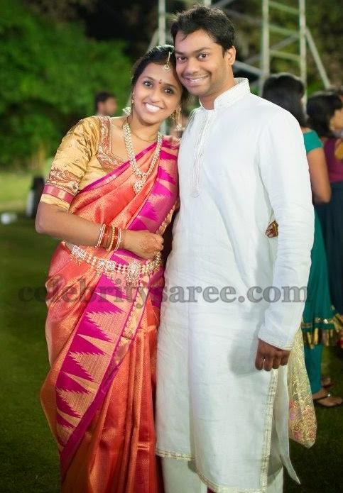 Singer Smitha Pink Bridal Saree