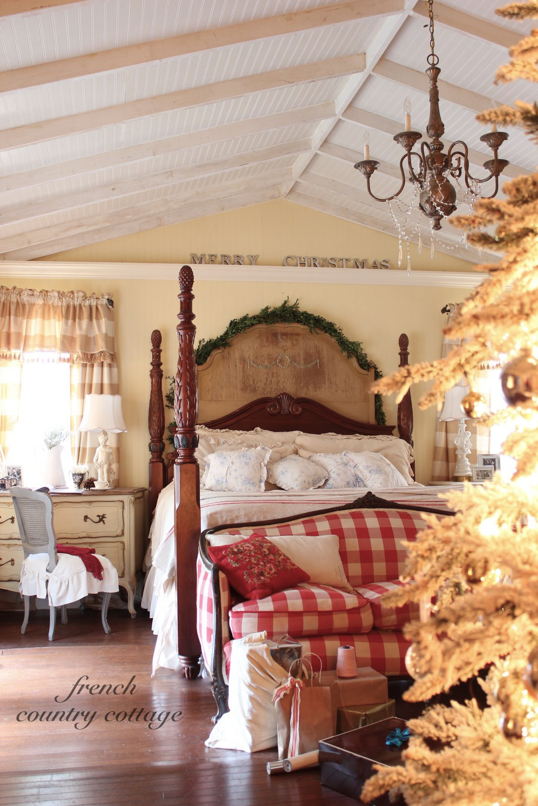 Joyeux Noel Bedroom French Country Cottage