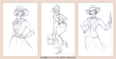 vintage fashion sketches drawings