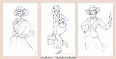 vintage fashion sketches drawings