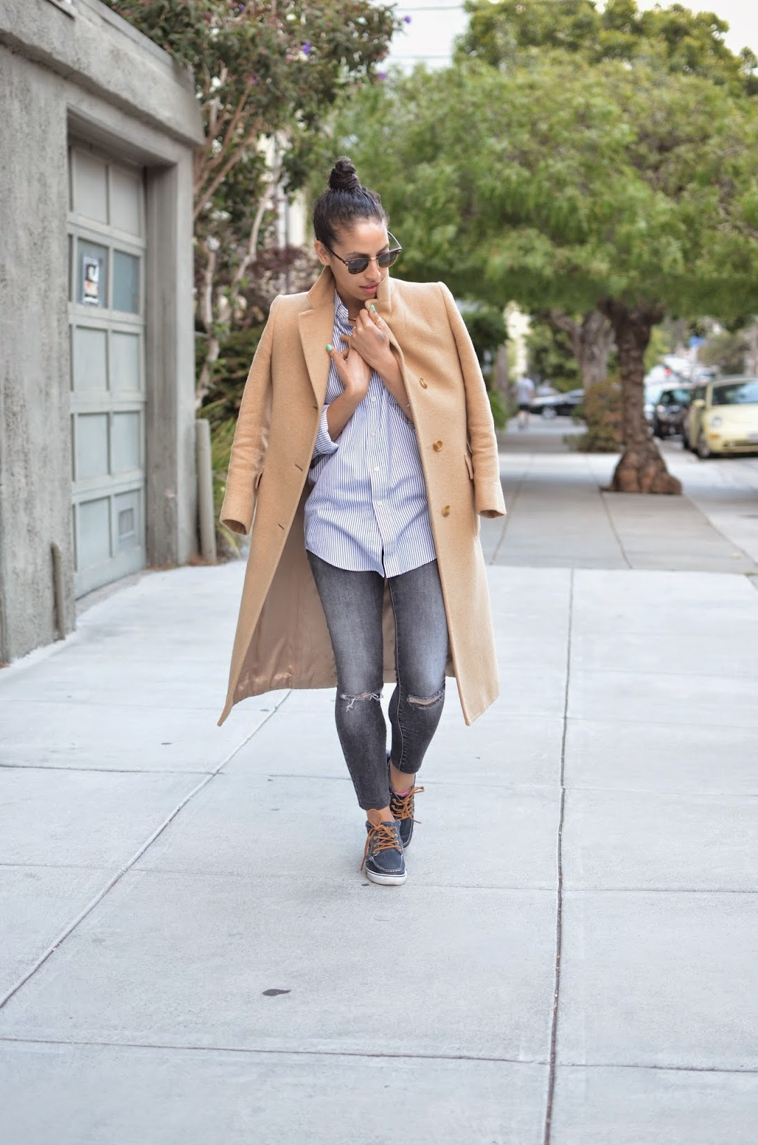 long camel coat, thrifted coat, vintage coat, high-top sperry's, sperry top-sider, button-down oxford, pinstriped oxford, J. Brand denim, grey denim, grey distressed denim, ray ban club masters