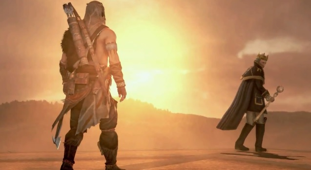 """Protagonist Connor facing George Washington in Assassin's Creed III DLC """"The Redemption"""""""
