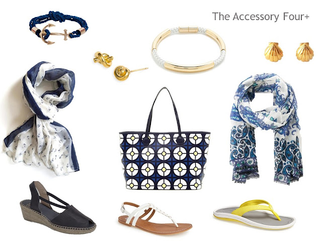 An Accessory Four+ for a warm weather trip; a family of accessories with a nautical feeling and a color scheme of navy, white and yellow