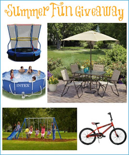 Enter to win the Summer Fun Giveaway, 5 Prizes ~$700: a swimming pool, patio set, trampoline, Huffy bike, swing set