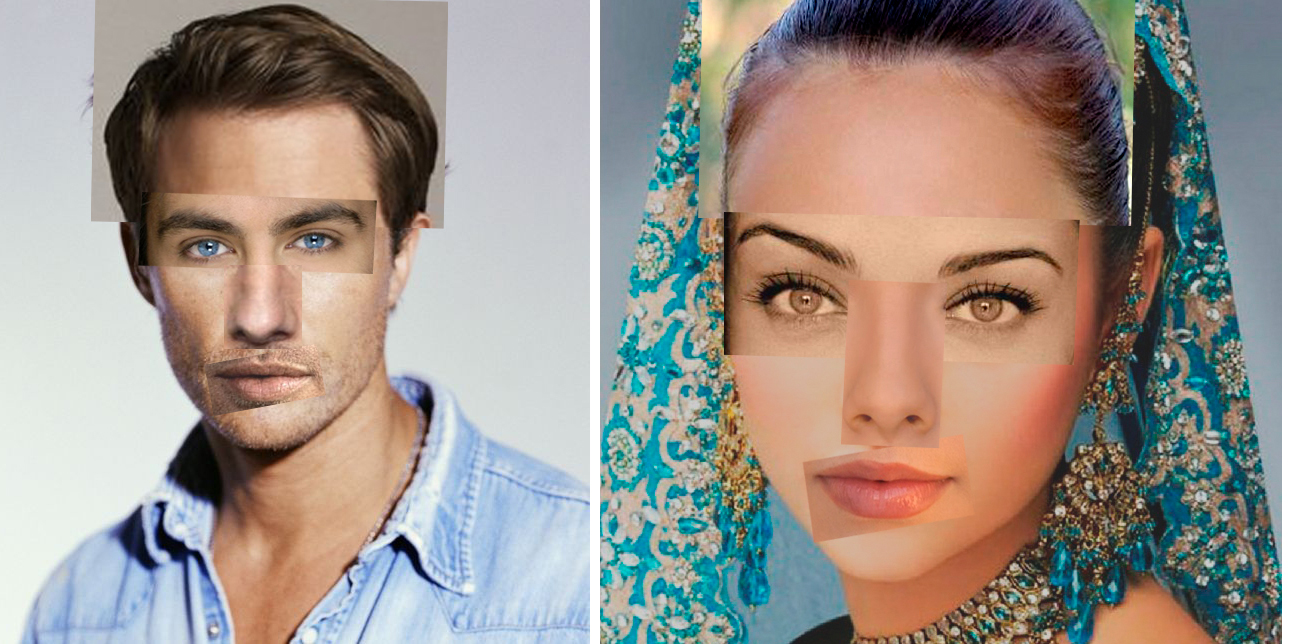 мужское и женское лицо фото коллаж
