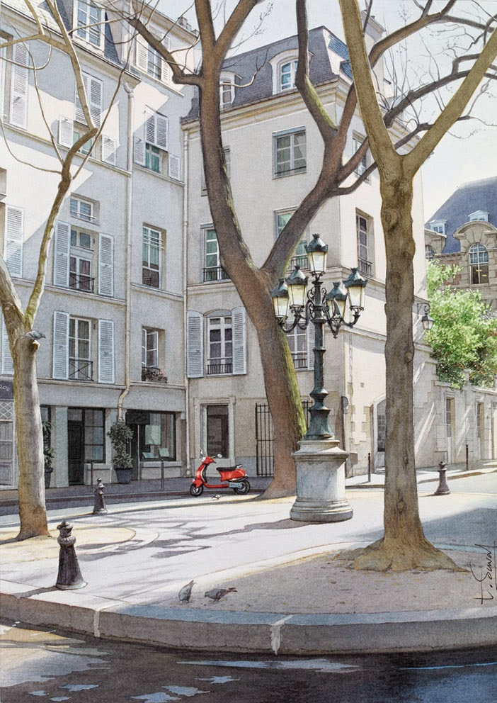 07-La-Place-Furstenberg-Thierry-Duval-Snippets-of Real-Life-in Watercolor-Paintings-www-designstack-co