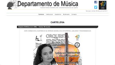 Departamento de Música de la Universidad Nacional de San Juan, Argentina. Página Web.