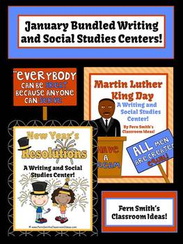 Fern Smith's Discounted Bundle of January Writing and Social Studies Center - MLK & New Years