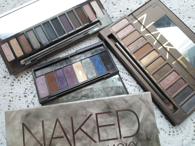 a picture of Palette Comparison;  Naked (original), Naked Smoky, Kat Von D Beethoven