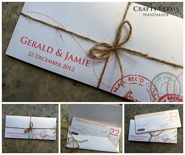 Boarding Pass Vintage  Handmade Wedding Card