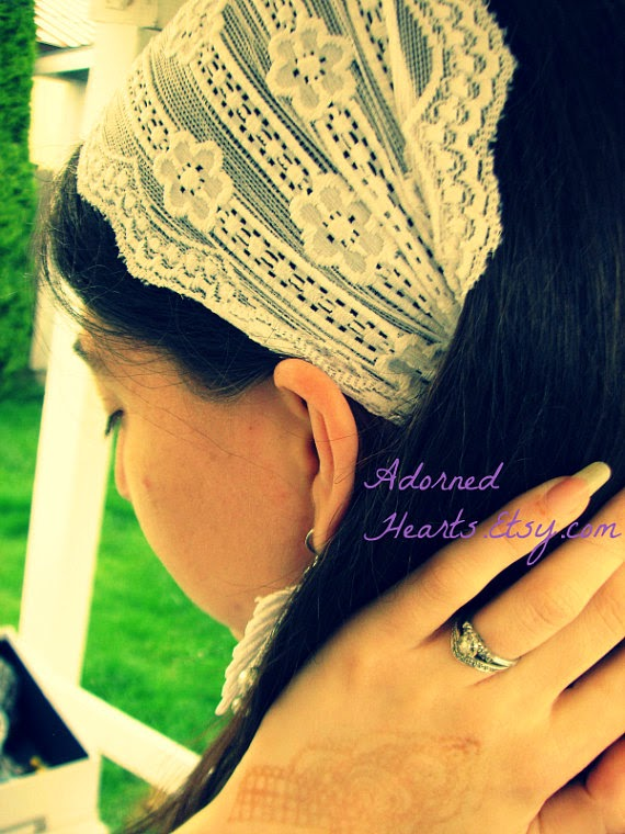 Wide Stretch Lace Headwrap