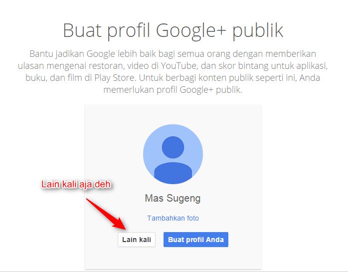 Buat akun Google+