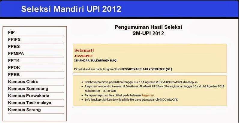 Pengumuman Seleksi Mandiri UPI
