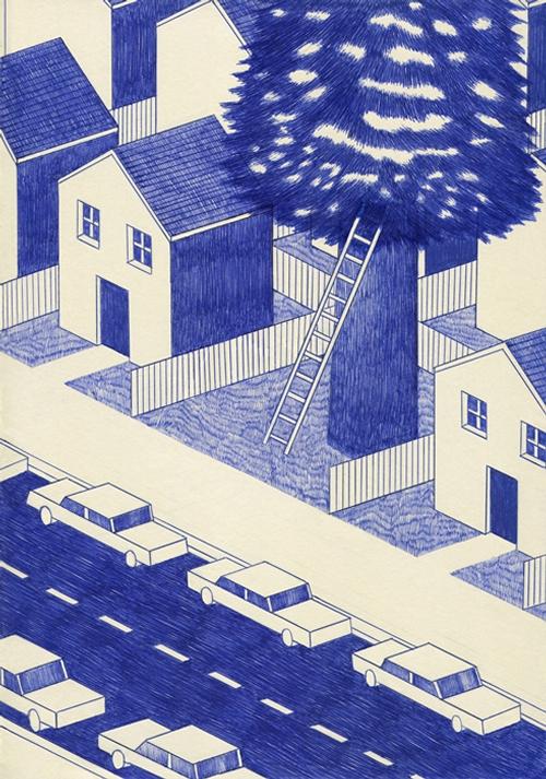 13-Lonesome-Town-Kevin-Lucbert-Ballpoint-Biro-Pen-Drawings-www-designstack-co
