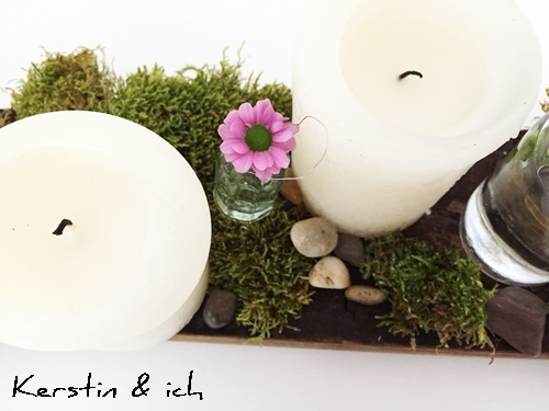 Weinfassdaube Kerzen Moos Blumen