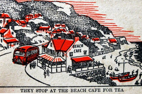 They stop at the beach cafe for tea 1950s
