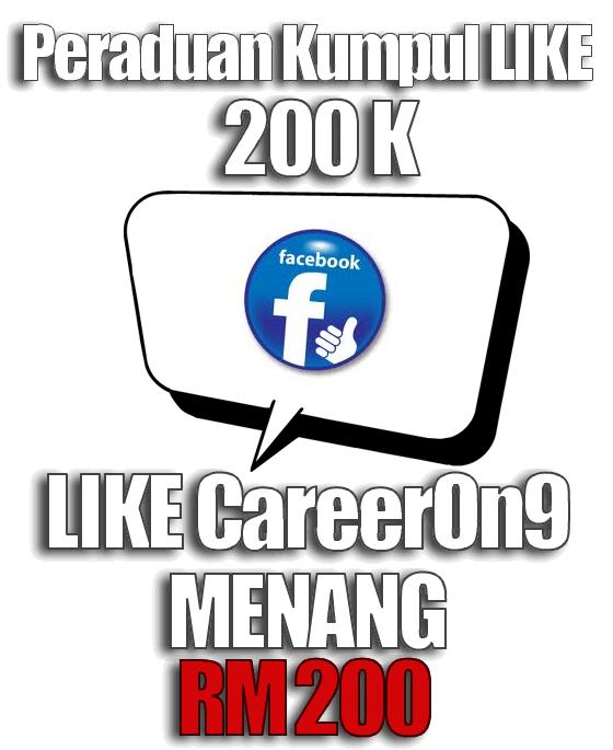 Peraduan Kumpul LIKE 200K dan MENANG RM200 di Careeron9