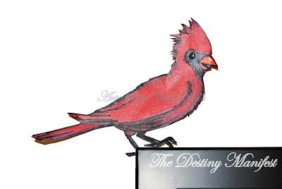 Cardinal Bird Paper Cutting Art Sketch