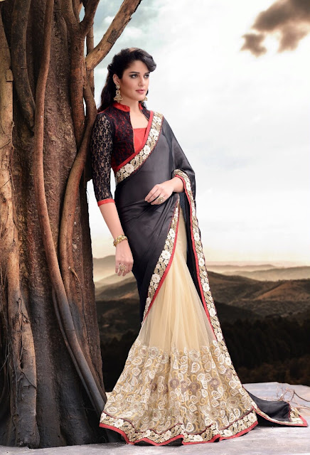 Cream & Black Satin Net Saree With Raw Silk Jacket Style Blouse