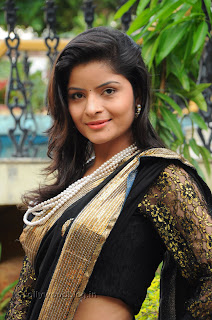 Gehana Vasista in black saree Pictures 006.jpg