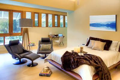 modern luxurious bedroom in beige color palette