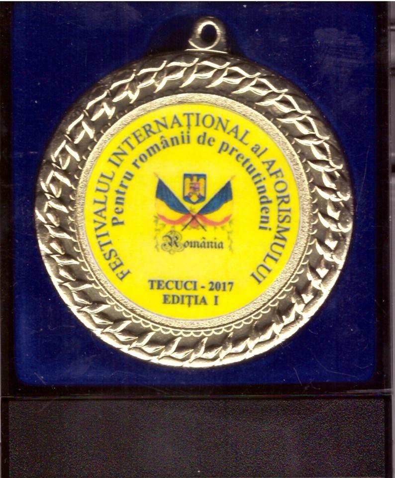 Teodor Dume-Menţiune la Concursul Internaţional de Aforisme, Tecuci-2017