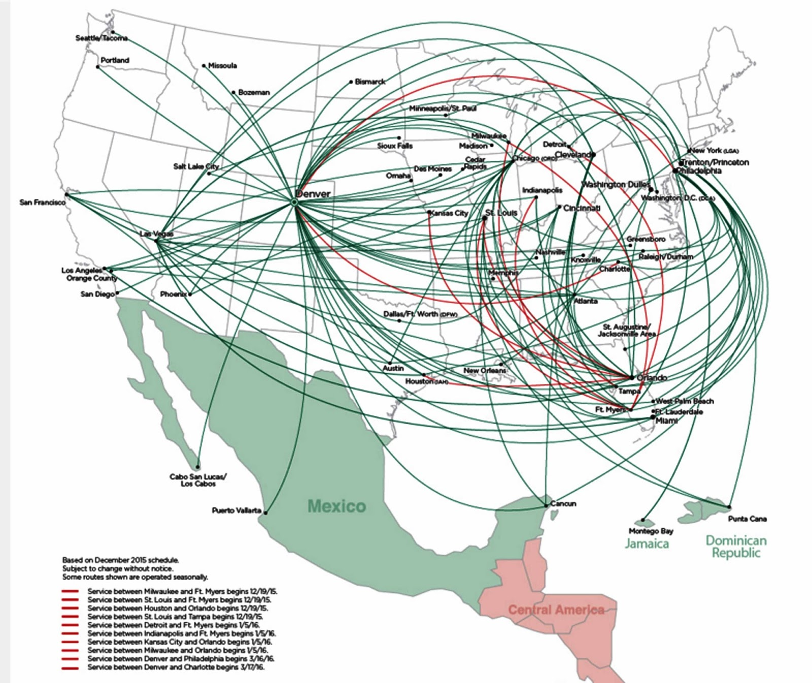 frontier airlines routemap covering a lot of territory