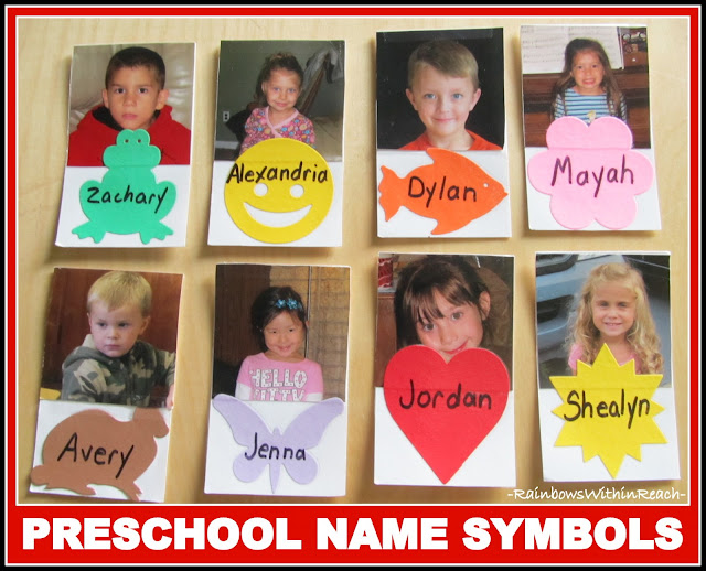 photo of: Preschool Names Coordinating with Symbols