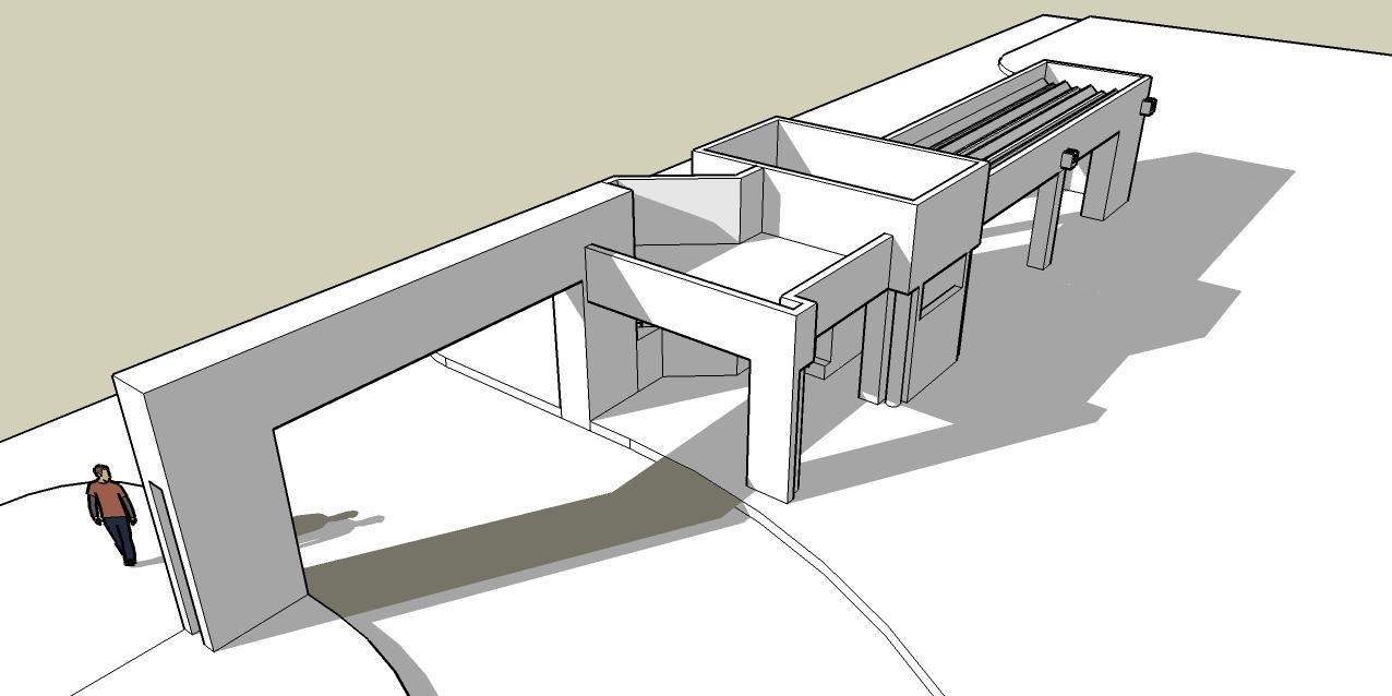 Victor hugo limpias porteria peatonal upsa for Accesos arquitectura