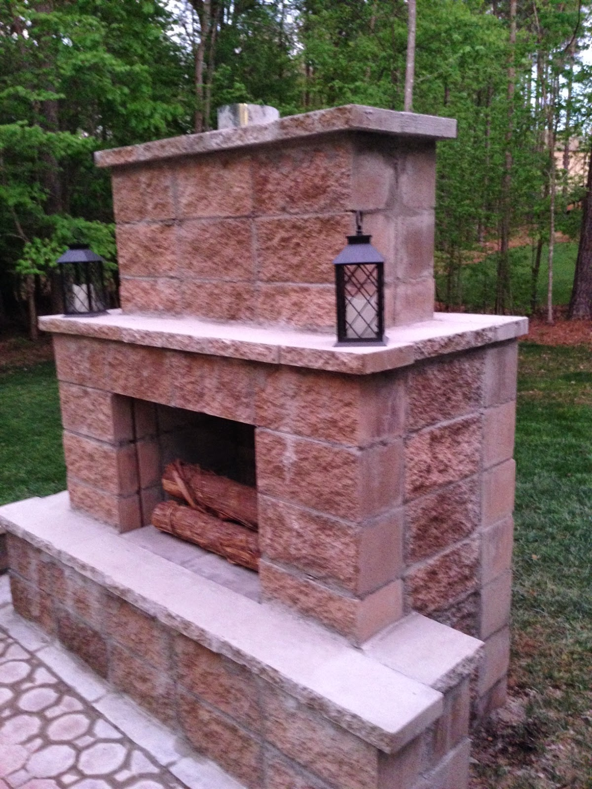 Life in the barbie dream house diy paver patio and for Patio fireplace plans