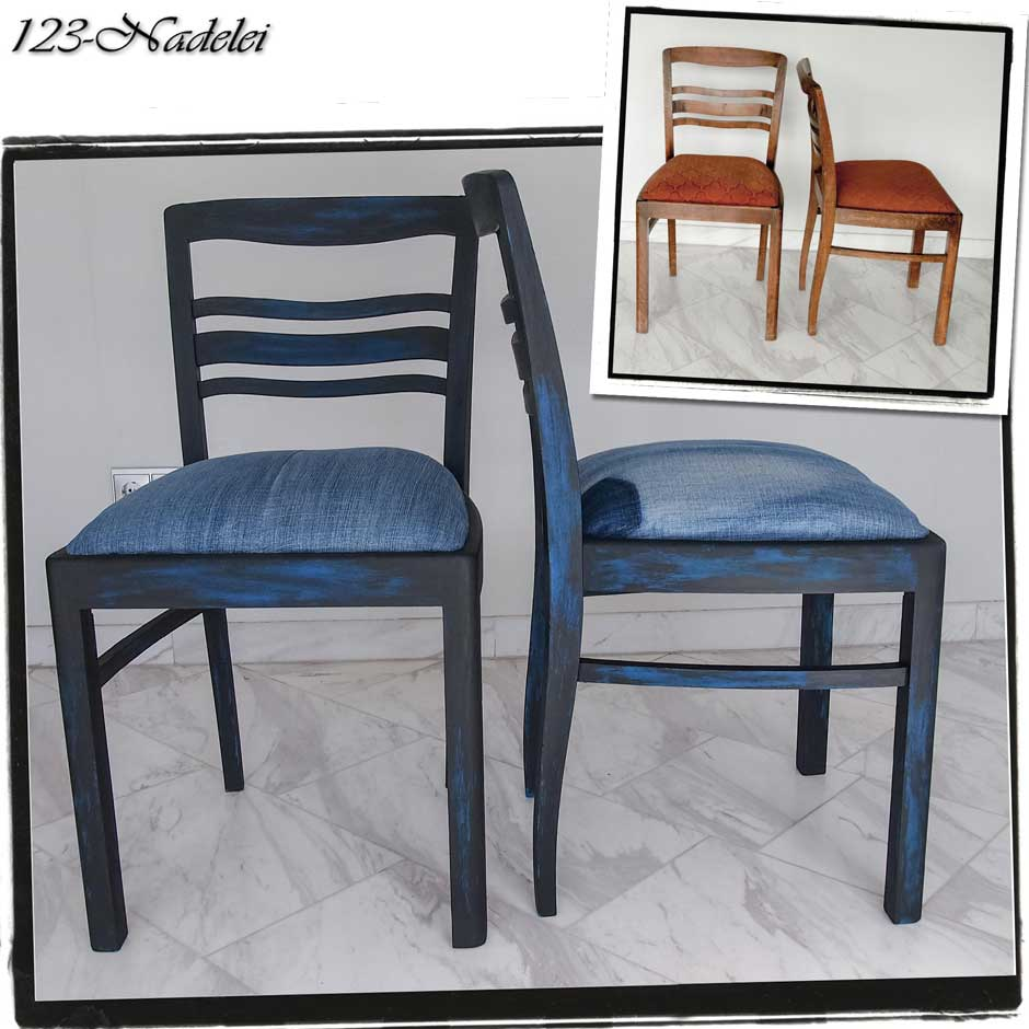 123 nadelei st hle diy blau mit shabby schwarz. Black Bedroom Furniture Sets. Home Design Ideas