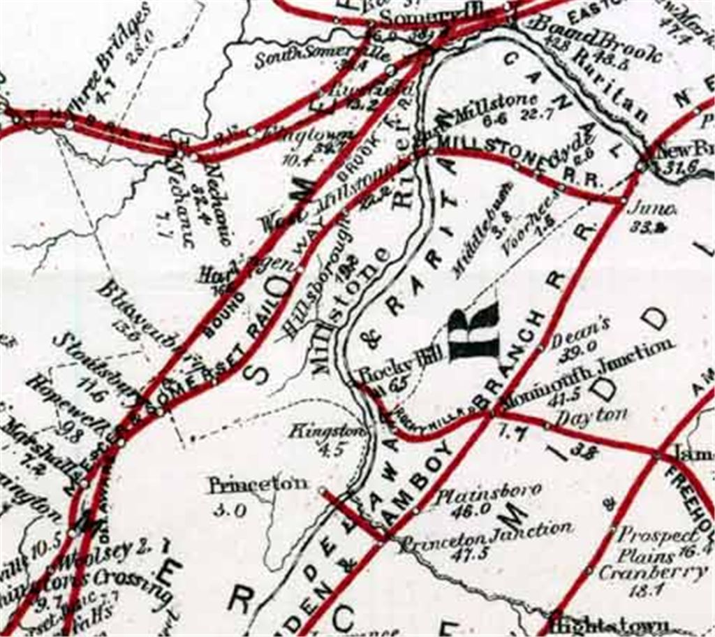 New jersey somerset county flagtown - 1876 Railroad Map Of New Jersey Showing The Hillsborough Station Stop Of The Mercer And Somerset Railway