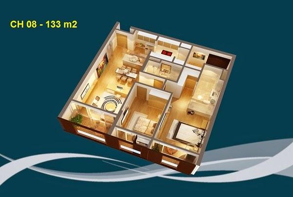 Thiết kế chi tiết căn hộ 08 - 133m2 chung cư Dolphin palza 28 trần bình
